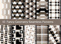 Geometric seamless pattern background. Set of 10 abstact motifs Royalty Free Stock Photo