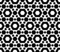 Geometric seamless pattern, black & white hexagons