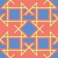 Geometric seamless pattern. Bright red background with blue and yellow design