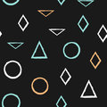 Geometric seamless pattern. Colored circles, triangles, rhombuses. Painted by hand with rough brush.