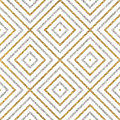 Geometric seamless pattern of gold silver diagonal lines or strokes