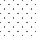 Geometric seamless pattern, Moroccan tiles design, black and white background