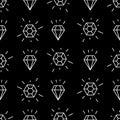 Geometric seamless pattern with white linear diamonds. Simple cartoon diamond pattern. Royalty Free Stock Photo