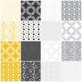 Geometric seamless patterns dots circles and wav yellow gray with waves vector illustration Stock Photography