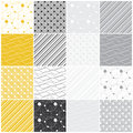 Geometric seamless patterns dots waves stripes set of with and vector illustration Stock Photos