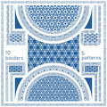Geometric seamless patterns. Set of 10 abstract frame borders