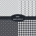 Geometric seamless patterns set dark and light grey colors black and white monochrome backgrounds bundle pack Royalty Free Stock Photography