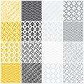 Geometric seamless patterns squares lines waves set of with dots and stripes vector illustration Royalty Free Stock Image