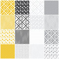Geometric seamless patterns squares polka dots set of with and chevron vector illustration Royalty Free Stock Image