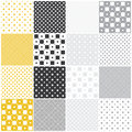 Geometric seamless patterns squares yellow and gray with stars dots and vector illustration Stock Photo