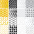 Geometric seamless patterns swaves circles lines set of with waves and vector illustration Royalty Free Stock Photography