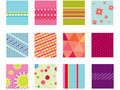 Geometric set of 12 folk patterns Royalty Free Stock Images