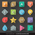 Geometric shapes background for flat icons set of with long shadow Stock Photos