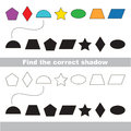 Geometric shapes colorful set. Find correct shadow.