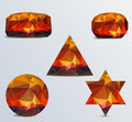 Geometric shapes set of luminous rubies Stock Image