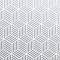 Geometric silver 3D cubes seamless pattern with glitter texture of abstract woven lines on white background. Vector silver glitter