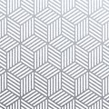 Geometric silver 3D cubes seamless pattern with glitter texture of abstract woven lines on white background. Vector silver glitter Royalty Free Stock Photo