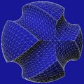 Geometric subtraction of blue sphere and two torus vector illustration Royalty Free Stock Photos