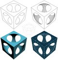 Geometric subtraction of cube and sphere vector from the simple to the complicated Stock Photos