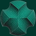 Geometric subtraction of green sphere and two torus vector illustration Royalty Free Stock Photography