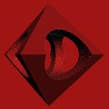 Geometric subtraction of red octahedron and two cylinder vector isolated Royalty Free Stock Photo