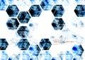 Geometric technological digital abstract modern blue hexagon bac