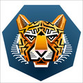 Geometric Tiger's face Stock Image