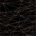 Geometric triangles glitter pattern. Gold trendy glitter on black