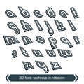 Geometric typescript in rotation d industrial small characters Stock Photos