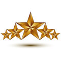 Geometric vector classic golden element isolated on white backdrop dimensional decorative stars shaped blazon Royalty Free Stock Photos