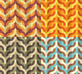 Geometric weaving pattern seamless flat in four retro color combinations Royalty Free Stock Photography