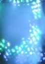 Geometric white bokeh lights on blue background Royalty Free Stock Photo