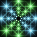 Geometrical corridor abstract blue green Stock Photography