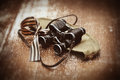George Ribbon, forage cap, binoculars. Photos in retro style. May 9 Victory Day Royalty Free Stock Photo