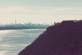 George Washington Bridge and the New York Skyline from Palisades Royalty Free Stock Photo