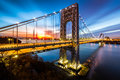 George Washington Bridge at sunrise Royalty Free Stock Photo