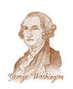 George Washington Engraving Style Sketch Portrait Stock Image