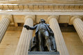 George washington statue federal hall national memorial nyc of in front of the monument s stone facade and entablatures s Royalty Free Stock Images