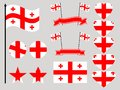Georgia flag set. Collection of symbols heart and circle. Vector Royalty Free Stock Photo