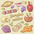 Georgian Cuisine Traditional Food with Khinkali. Hand Drawn doodle