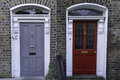 Georgian doors typical in dublin ireland Stock Photo