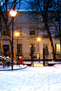 Georgian houses in traditional winter snow scene at nightime Royalty Free Stock Photo