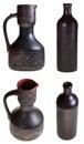 Georgische ceramische aardewerkwaterkruik en fles Stock Foto