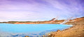 Geothermal landscape with beautiful azure blue crater lake myvatn area iceland panoramic view of north of Royalty Free Stock Image