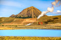 Geothermal landscape at Krafla Bjarnarflag Diatomite power station, Myvatn, Iceland Royalty Free Stock Photo