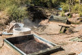 Geothermal ovens used by the maori people of new zealand to cook food Royalty Free Stock Photography