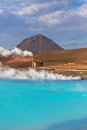 Geothermal power station and bright turquoise lake in iceland at summer sunny day Stock Images
