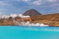 Geothermal power station and bright turquoise lake in iceland at summer sunny day Stock Photos