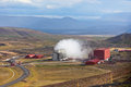 Geothermal power station in iceland mountains hverir Royalty Free Stock Photo