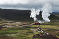 Geothermal power station near Krafla, Iceland Royalty Free Stock Photo